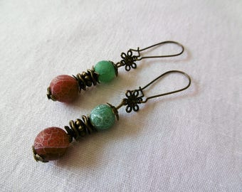 Bohemian earrings frosted green agate beads and dark, red agate earrings