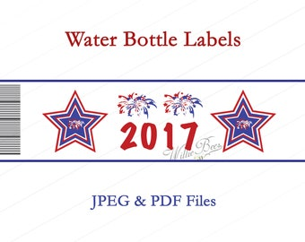 Water Bottle Labels - Jpg & Pdf - American - United States - Fourth of July - Independence Day - USA - INSTANT Download