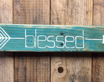 Teal Arrow Blessed Wood Sign