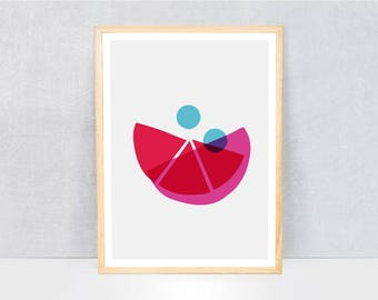 abstract print / kids art print / kids wall art / cute illustration / bright colours / kids poster print / minimal