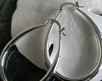 Hoop Silver Earrings, Oval Silver Earrings, Silver Hoops, Silver, Hoop Earrings