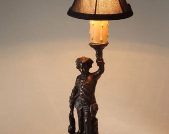Antique Spelter Figural Lamp Tricorn Hat Hunter Boy