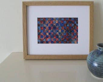 Small Art Weaving in Red and Blue Wall Decor Abstract Art Ready To Ship