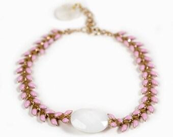 """COB"" enameled gold link and white agate bracelet"