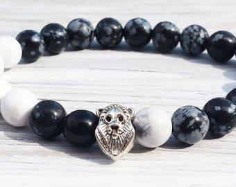 Men Lion Bracelet Howlite Snowflake Obsidian Gemstones Bracelet Wrist Mala Fathers Day Gifts Boyfriends Gifts For Him Stretch Bracelet m