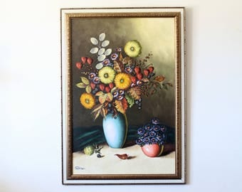 Original Still Life Painting | Oil Painting | Vintage Painting | Painting of Flowers | Floral | Colorful Painting | Large Painting | Art