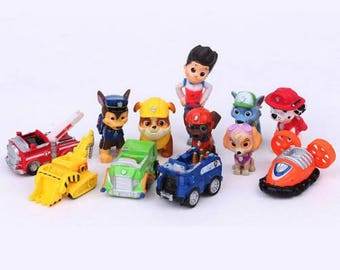 Paw Patrol cake toppers toys Paw Patrol birthday party 12pcs action figures Marshall Ryder Chase vehicles