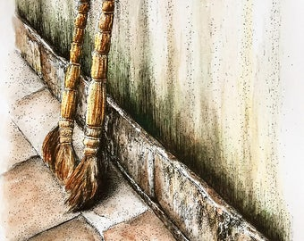 Original Watercolor Painting of Brooms - 5.5 x 7.5 inches