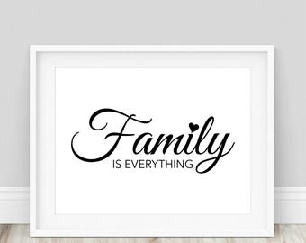 Family is Everything - Family Sign, Family Wall Art, Family Printable, Family Quote Prints, Family Home Decor, Typography Prints