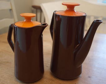Retro Pottery Coffee Pot and Hot Water/Milk Pot, Orange and Brown.