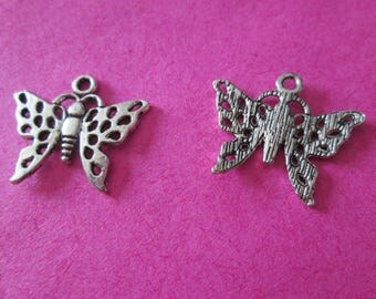 Openwork 10 Butterfly charms and silver metal 20 mm x 18 mm