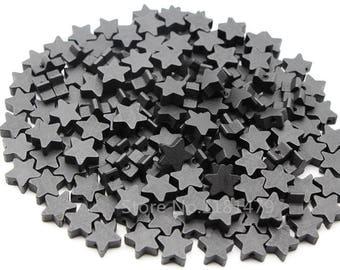 Star 15 mm black wood 10 beads