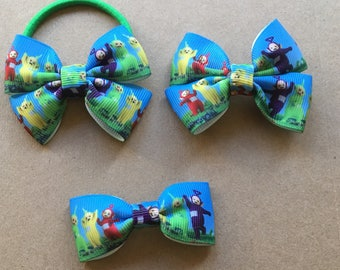 Teletubbies hairbow ribbons- on hair clips or hair ties