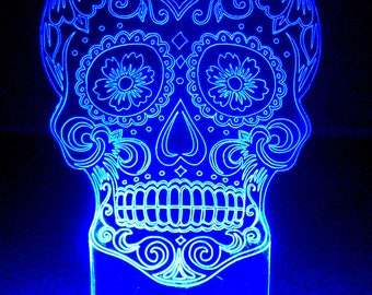 Sugar Skull Edge Lit Acrylic Nightlight / Sign / Lamp / Illuminated Sculpture