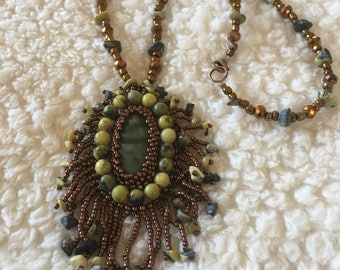 Olive green Bead embroidery necklace.  Green  necklace. Bead embroidery. Olive green necklace.  Copper trim and fringe.  On a beaded chain.