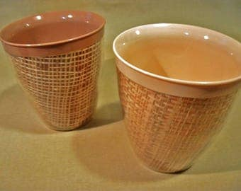 Pair of Raffia-Ware Cups | Vintage 1950's | Mid-Century Kitchenware | Picnic Glasses | Melamine | Burlap | Melmac | Coffee Cups | Insulated