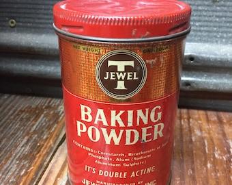 Rare Vintage Jewel T Baking Powder Tin~Farmhouse Decor~Jewel T Co., INC