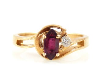 Vintage Marquise Garnet and Diamond Ring - X2230