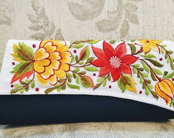 Embroidered clutch black silk clutch embroidered evening bag floral India envelope clutch asymmetric flap gifts for her