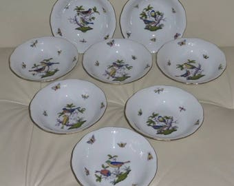 "HEREND ROTHSCHILD BIRD #330 Set of 8 Oatmeal/Cereal 6 1/2"" Bowls"