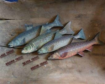 Retro Fish Wood Cutouts (Trout)