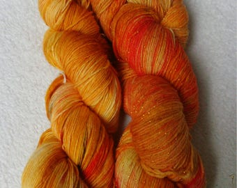 Set cloth wool 200 g hand-dyed Orange, Goldbelb pumpkin Currys with glitter