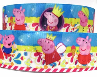 """Grosgrain Ribbon 1.5"""" Peppa Pig - PP10    -  By The Yard - USA Seller ( Buy Another One, Add to Cart,  Save on Combine Shipping )"""