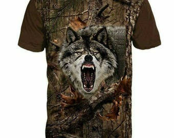 New ultramodern 3D  High Quality  Print Hunting WOLF Real Camouflage short Sleeve t-shirt