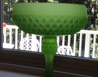 Frosted Green Glass Pedestal Compote