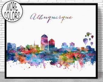 Albuquerque Skyline Albuquerque Art Print Albuquerque New Mexico Office Decor Office Art Watercolor City Prints ArtPrintZoneGift for Women