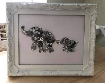 Mummy & Baby Elephant Button Frame