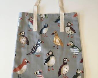 Fabric shopper bag - puffins on grey