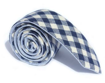 The Alnick - A Blue Gingham Skinny. Reversible.