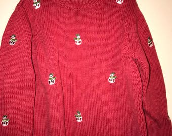 Ugly Tacky Christmas Sweater, Unique Christmas Snowmen Design, By Greendog Childs Size-3T