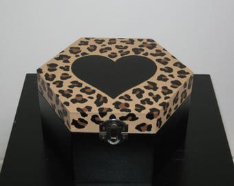 Leopard print hand drawn and hand painted wooden box