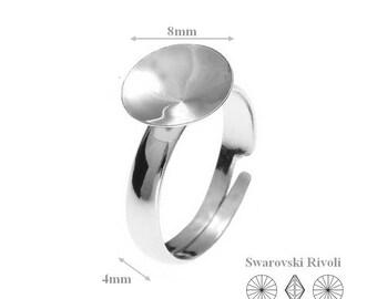 Silver Ring, Sterling Silver Adjustable Ring, for, Swarovski Crystals,1122, Rivoli 8mm, SS 39