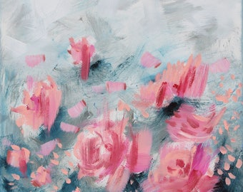 Small abstract painting Pink abstract Pink flower art Flowers painting Girly art Bedroom decor Shabby chic art Blush pink art Roses painting