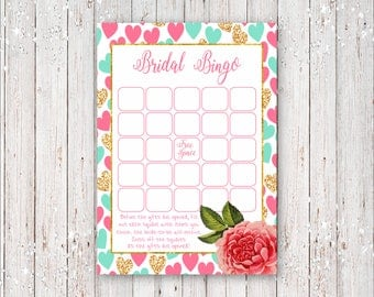 Instant Download Bridal Shower Mad Libs with Gold Foil and Pink Hearts Background