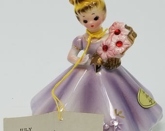 Vintage July by Josef Lavender Ruby Birthday Girl Figurine With Original Hang Tag
