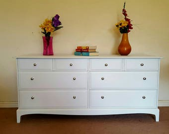 Mid-century STAG Minstrel chest of drawer painted in Laura Ashley pale dove grey.