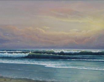 Sea breath, oil, canvas,  signed original painting, sea, seascape, beach, sunset, clouds, coast, waves, sun,nature