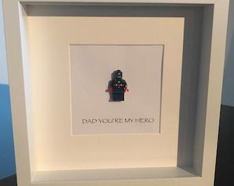 Captain America 'Dad you're my hero' lego frame