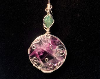 Stacked Rough Emerald and Purple Fluorite, Silver Plated, Wire Wrapping, Gemstone