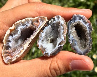 3 Mini Brazilian Agate Geodes, Geode, Quartz, Gemstone