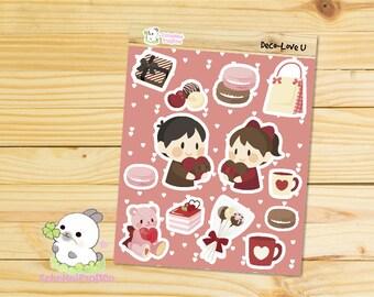 Love U Valentine's Day Deco/ Decoration Sheet Planner Stickers