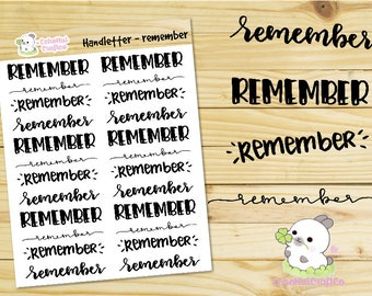 Remember Hand letter / Script Word Planner stickers