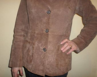Light Brown Suede Leather Coat Short Waist