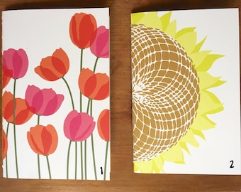 2 for 15 Upcycled Ecofriendly Floral Blank Portable Notebooks - recycled vellum paper