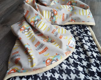 Baby boy blanket/boy minky blanket/Barrel of monkeys blanket/Baby boy minky blanket/Boy flannel security blanket/shower gift/newborn/toddler
