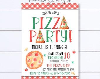 Pizza Party Invitation, Pizza Birthday Invitation, Pizza Invitation, Pizza Party, Birthday Invitation, Pizza Birthday, Party Invitation